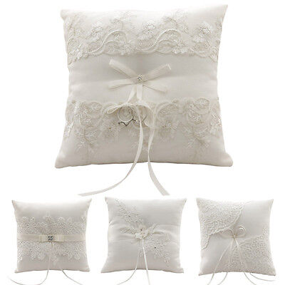 Ring Pillow Delicate Floral Lace Splice Bride Ring Bearer Cushion Wedding Party