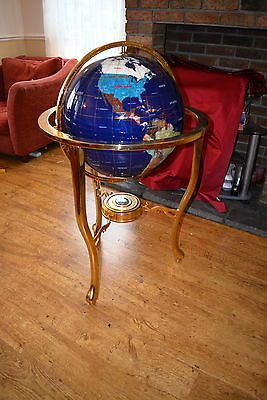 * Rare * Very Large Mother Of Pearl & Gemstone World Atlas Globe On Stand