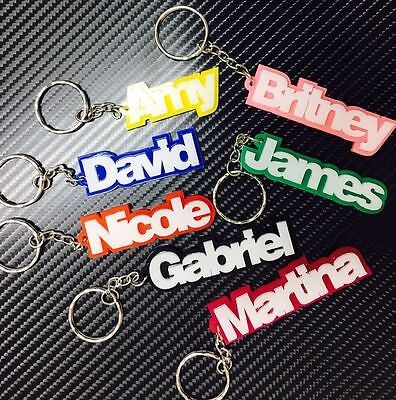 Personalised Personalized Keychain Keyring Name School Bag Tag Gift