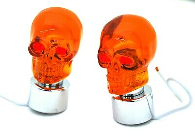 """bumper guide top(2) skull amber chrome plastic fits 1"""" threaded pipe replacement"""