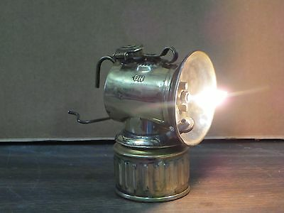 Antique, (Operational) Polygon Feed Horizonal Justrite Miners Lamp