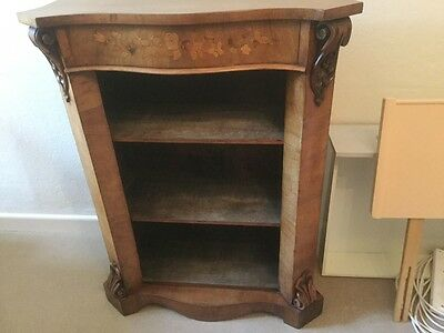 Antique Walnut Inlaid Victorian Open Bookcase Display Case