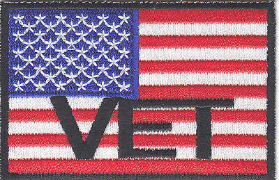 """""""VET"""" - AMERICAN FLAG w/BLACK BORDER - USA-PATRIOTIC/Iron On Embroidered Patch"""