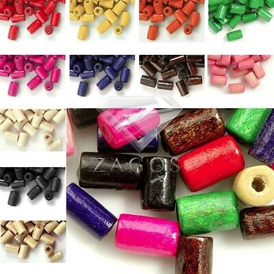 30g(200pcs Approx) Tube Loose Wood Spacer Wooden Dyed Beads Jewelry Findings 8mm