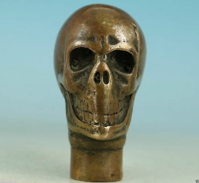 Chinese Old Bronze Hand Carved human Skull Statue Cane Walking Stick Head