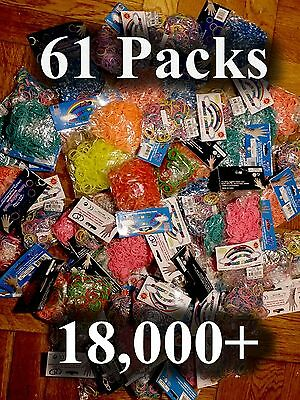 Lot Of 61 Packs Rubber Bands  18,000+ for Rainbow Loom I am out of  business!