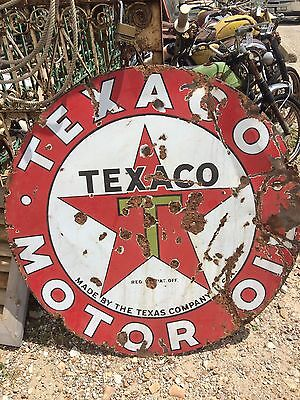 "1930s LARGE Texaco Antique porcelain sign (41.5"")"