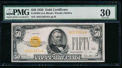 AC Fr 2404 1928 $50 Gold Certificate PMG 30 comment