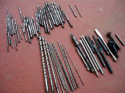 Large 60+ Lot Of Vintage Drill Bits All Types and Sizes Plus A Few Other Items