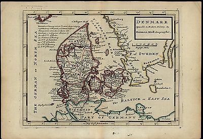 Denmark Jutland Zeeland Baltic Sea c.1720 Herman Moll antique map