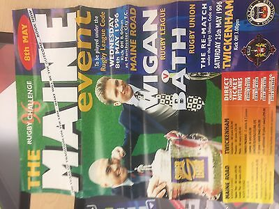 Wigan Rugby League Vs Bath The Main Event Poster 1996 Rugby League Rugby Union