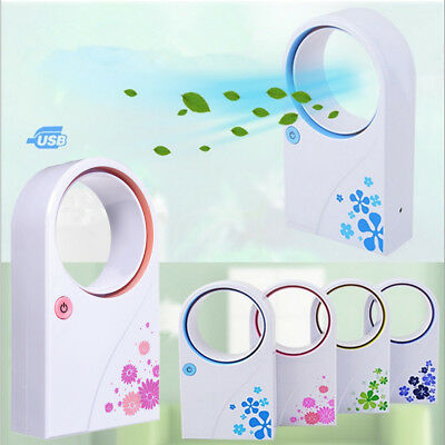 NO Leaf Mini Portable USB Handheld Cooling Fan Bladeless Air Conditioner Cooler