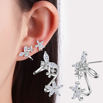925 Sterling Silver Marquise Zircon Butterfly Flower Ear Clip Cuff Earrings