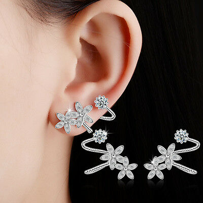 New Elegant 925 Sterling Silver Natural Zircon Flowers Ear Clip Cuff Earrings