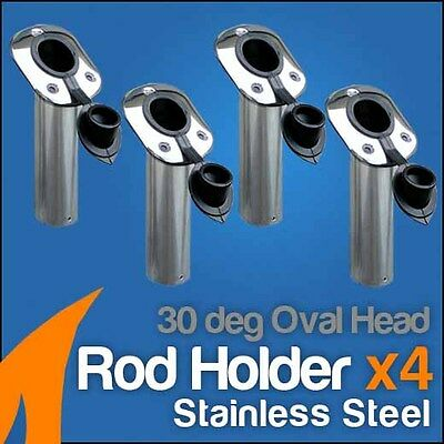 4 x 316 Marine Grade Stainless Steel Rod Holder 30deg Oval Head