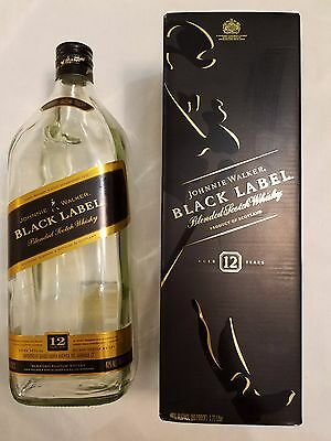Johnnie Walker Black Label 12yr Scotch Whisky Empty Bottle WITH Box- 1.75 Liter