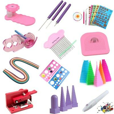 New Paper Quilling  Craft Tool Slotted Template Board Mould Grid Needle Pen Kit
