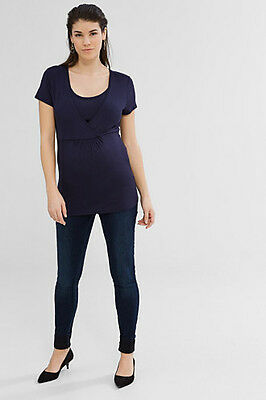 NEW Esprit Maternity Flowing stretch nursing top NIGHT BLUE