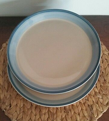 2 Vintage Mikasa Discovery Blue Reef Dinner Plates  F3003 1980's