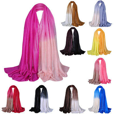 Glitter Women Long Voile Scarf Soft Gradient Pashmina Wrap Shawl Stole Scarf New