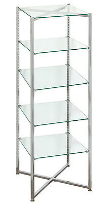 Collapsible Display Black 6' Tall DisplayKnockdown Glass Shelf Store Fixture New