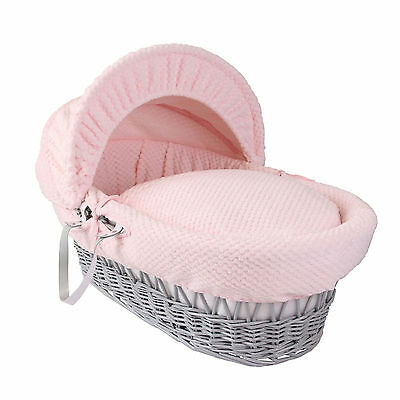 New Clair De Lune Pink Honeycomb Padded Grey Wicker Baby Moses Basket & Mattress