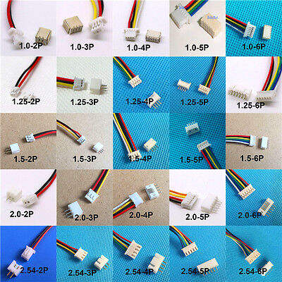 10SET Mini Micro JST GH1.25mm ZH1.5 PH2.0 XH2.5 Connector plug with Wires Cables