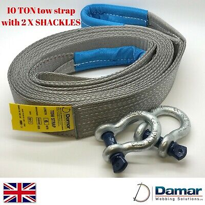 Tow Strap 4x4 recovery 10 ton 6 mtr with 2 tested bow shackles HEAVY DUTY