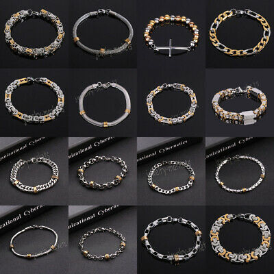 Unisex's Men Silver Stainless Steel Chain Link Bracelet Wristband Bangle Jewelry