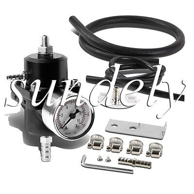 Universal Black Adjustable Fuel Pressure Regulator 0-140 Psi Gauge + Hose Kit Au