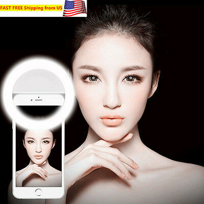 USB Rechargeable Selfie LED Ring Fill Light for iPhone Android Phone Camera