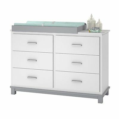Ameriwood Home Leni 6 Drawer Dresser Changing Table in White and Gray