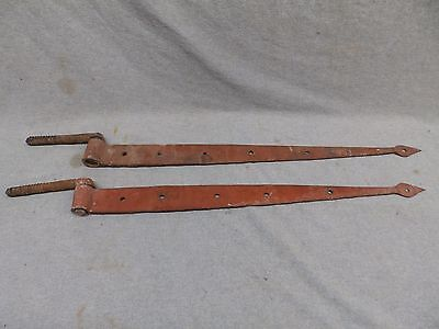 Pair Antique Strap Hinges With Pintles Barn Door Hand Forged Vintage 398-17R