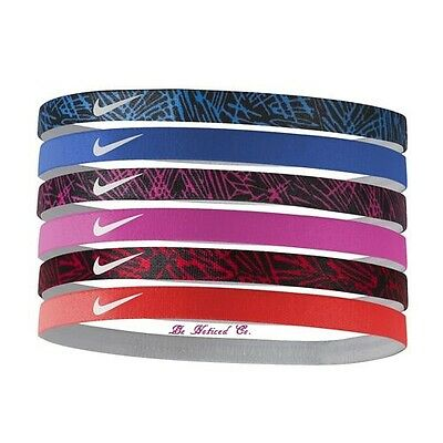 Nike Unisex Printed Headbands 6 Pack Blue Pink Red Gym Running Training New