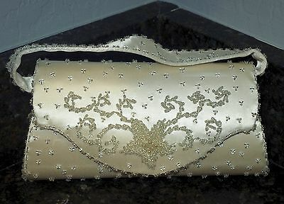Vtg Formal/ Bridal Clutch Bag, Hard Case,beaded,removable Strap, Ivory/crmy Whit