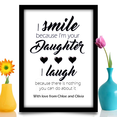 Christmas Gift For Dad From Daughter Personalised Birthday Daddy A4 Gloss Print