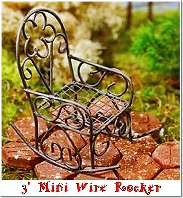 MINIATURE RUSTIC METAL ROCKING CHAIR by RUSTIC ACCENTS FAIRY GARDEN/DOLLHOUSE