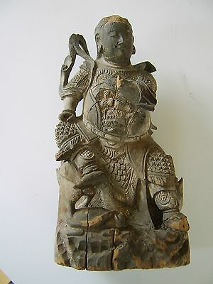 Ancient Antique Chinese Carved Wood Figure Emepror God Warrior Staue