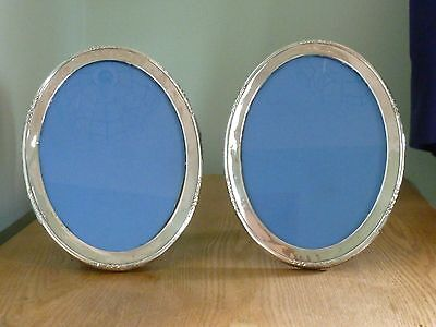 Art Deco Large  Pair Of Solid Silver Oval Photo Frames Birm 1925