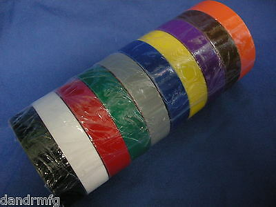 "NEW 10 ROLLS PVC ELECTRICAL TAPE 3/4"" x 60' x 7mils INSULATION ADHESIVE ROLLS"