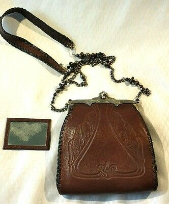 Art Nouveau Arts & Crafts Tooled Leather Small Shoulder Bag Purse Silver Frame