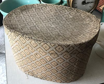 Antique Early American Wallpaper Wrapped Oval Band Box Primitive Folk Art