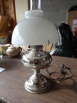 Vintage PERFECTION electric table lamp hurricane white globe working condition