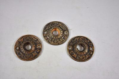 Set Of 3 Antique Round Key Hole Covers Plates Escutcheon