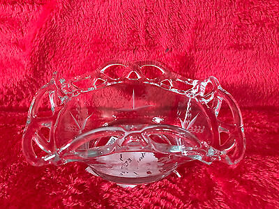 """Imperial Crocheted Crystal ~ Lace Edge Bowl 5"""" EUC MINT Etched Square"""
