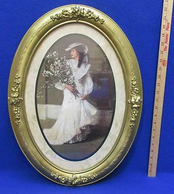 Victorian Woman Bride Oval Framed Print Picture Gold Syroco Frame Homco 22""