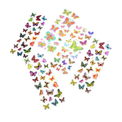 5 Sheets Colorful 3D Butterflies Scrapbooking Bubble Puffy Stickers J&C