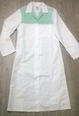 Ladies uniform dress lab coat housekeeper cleaner NHS Size 8-10 white green NEW