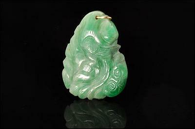 Antique Chinese Carved Exotic Bird Fish Apple Green Jade 14K Gold Amulet Pendant