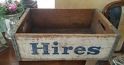 Vintage Hires Root Beer Wood Crate Blue White Summer Garden Party Centerpiece